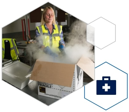 UPS Healthcare cold chain solutions worker handling a temperature sensitive project